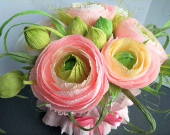 Crepe Paper Flower Flowers<Bouquets| Handmade  Paper floavers Decor | Party Decorations | Gift