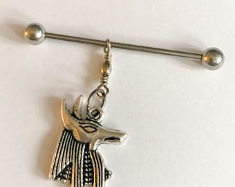 Antique silver tone carved Egyptian Anubis charm on 14g  silver stainless steel industrial barbell body jewelry