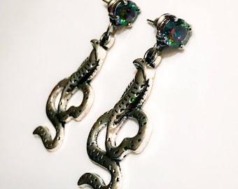 Rainbow mystic topaz drop earrings with silver tone 3D cobra snake dangle charms