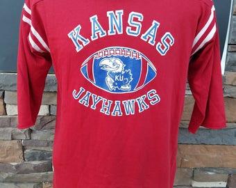 Kansas Jayhawks Vintage 3/4 Sleeve Shirt