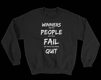 Winners Never Quit Heavy Blend Crewneck Sweatshirt with Free Self Help Ebook