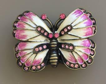 Vintage butterfly & leaves  pill box In enamel on metal .