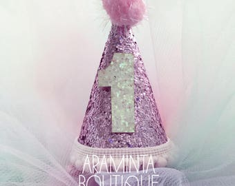 1st Birthday Hats, Sparkle hats, Pink, Mint, White, Cake smash, Photoshoots, Photo prop, Party