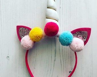 Unicorn headband, girls unicorn headband, pom pom unicorn headband, unicorn horn pompom headband, white unicorn headband, pink unicorn