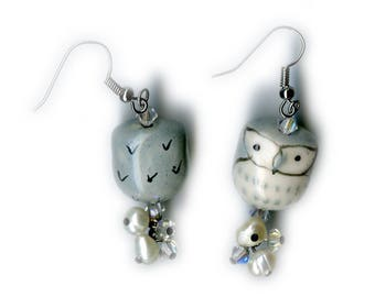 Porcelain Owl Earrings with Swarovski Crystals, freshwater pearls, and silver plated copper