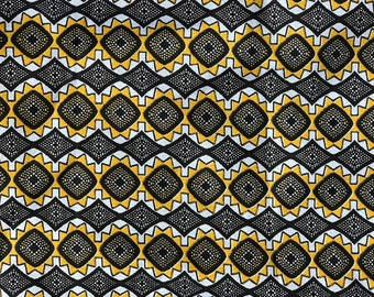 African Fabric by the Yard, ShweShwe, South Africa, African Print Fabric, Ethnic Fabric, Yellow, Black, and White
