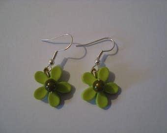 Original Green Flower Earrings