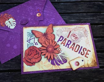 "card and envelope on the theme ""paradise"""