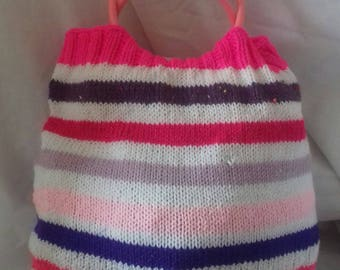 Pink Stripe Tote Bag