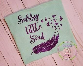 Glittered Sassy Monogram Shirt/Glittered Personalized shirt/Girlie Shirt/Kids Glitter Girl Shirt/Girl Birthday Shirt/Cute Feather Shirt
