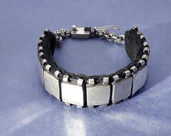 Sterling Silver Box Link Bracelet/Fabric backed/Vintage/Handmade/Christmas/Birthday/Valentine Present/Anniversary Gift/Free Shipping US