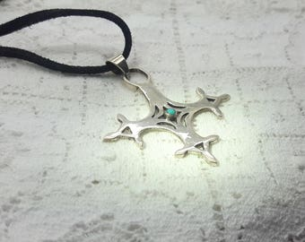Sterling Silver Equal-Armed Pendant Cross with Turquoise on Black Suede Flat Cord/Handmade jewelry