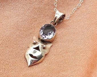 Amethyst Drama Mask Sterling Silver Pendant Necklace/Vintage Pendant/Handmade  /Free Shipping US/ Birthday/Christmas