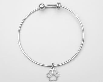 Bangle Bracelet - Silver Paw Bracelet