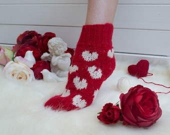 Handmade knitted socks.  Original design with hearts. These socks will be the best present for holidays and celebrations  for a woman !