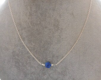 Flower lapis lazuli on chain necklace 925 sterling silver