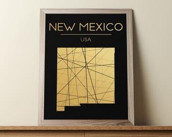 New Mexico Wall Art, New Mexico Poster, New Mexico Map, New Mexico State Sign, New Mexico Map Print, Geometric Art, JPG