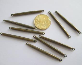10 Connecteur bâton barre en métal couleur bronze 40 x 3 mm