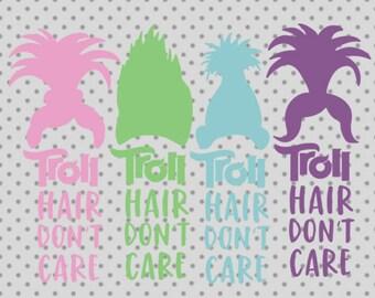 trolls SVG, dxf, png, eps, trolls cricut and silhouette cameo, trolls silhouette, trolls clipart, trolls hair svg, troll hair dont care