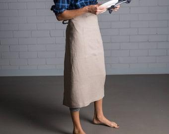 Linen apron - Washed linen apron - Beige linen kitchen apron - Cafe apron - Handmade linen apron