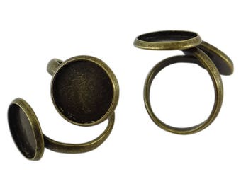 5 supports rings for 2 br048 bronze color 12 mm cabochons