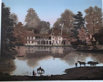 "MICHEL DELACROIX Limited Edition Color Lithograph #65/200. ""Le Hameau de la Reine a Trianon"""