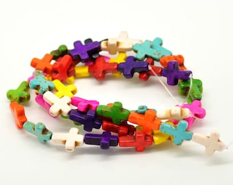 howlite cross multicolored 16 x 12 mm x 10 mixed beads