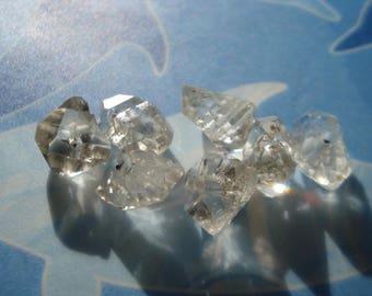 Herkimer Quartz Drilled - 7 Genuine Herkimers Beads 9 Ct - 11-12 mm Raw Rough Herkimers MG1196