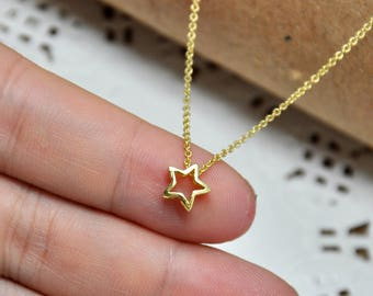 Mini Gold Star Necklace Little Star Necklace Tiny Star Necklace Gold Star Jewelry Dainty Star Necklace
