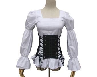 Women Medieval Renaissance Pirate Steampunk Top Blouse Shirt Theater Clothing Downton Abbey Riding Shirt Blouse Steampunk Theater Costume