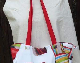 """""""The red shoes"""" port tote bag a multi-pocket, red leatherette and fabric shoulder"""