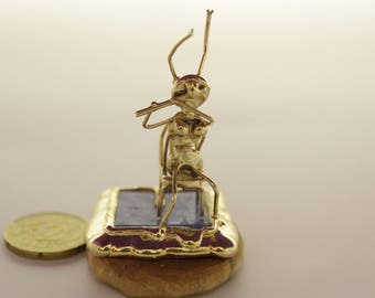 Lady ant playing the Flute Miniature,free shipping, gold plated,sitting.miniature hand madeת Unique miniature
