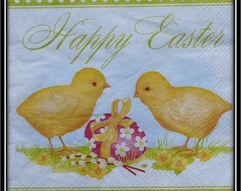 "napkin theme Easter chicks and egg ""happy easter"""