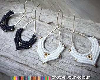macrame earrings, 925 sterling silver 24K gold plated beads, gold plated earwires, brass drop
