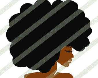 Big Afro SVG, JPEG, PNG Afro Lady Natural Hair Black Woman With Kinky Hair Ethnic African American Art Digital Download