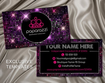 Paparazzi Business Cards, Paparazzi Card, Paparazzi independent consultant, jewelry consultant, jewelry business card, PBC2