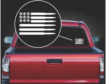 American Flag Bullets Vinyl Window Decal Sticker