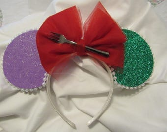 Ariel Inspired Little Mermaid Disney Minnie Ears Glitter Free Gift with Purchase