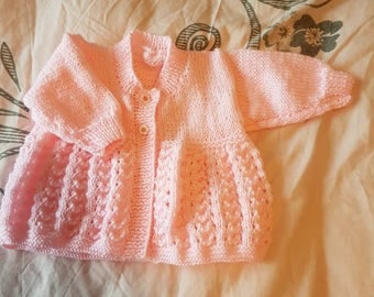Hand knitted pink matinee coat, 0 - 3 months