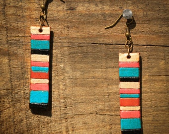 Miranda Serape Earrings | Leather Earrings | Birthday Gift | Anniversary | Gifts under 25 | Handmade | Gifts for Her