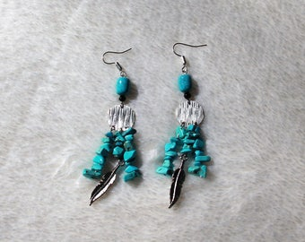 Turquoise Chandelier Feather Earrings Free US Shipping