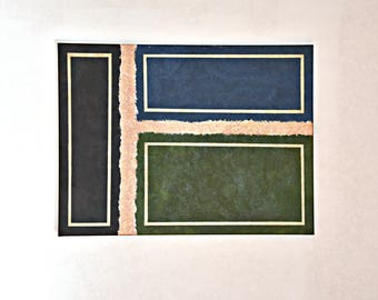 30x40 Natural Brown, Green and Blue Squares Separated by Torn Canvas Illusion, Stitched with Copper Paint 3 Infinity Borders on Each Square