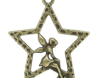 Set of 5 charms star bronze 6x6mm PB155