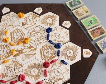 Settlers of Catan Board | 3-4 Players. Engraved. Handmade. Custom, Wood, Laser Cut. Board Game Pieces. Gift for gamer In stock.