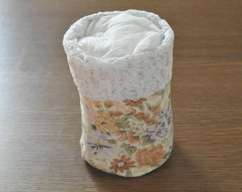 round pouch reversible flower for bathroom and lace