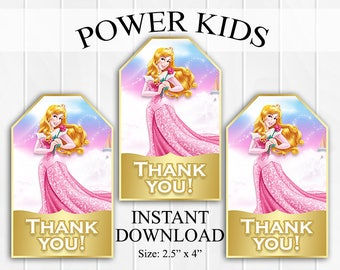 INSTANT DOWNLOAD Sleeping Beauty Thank You Tags, Favor Tags, Party Favors, Printable DIY