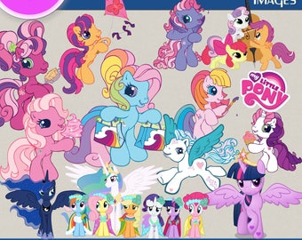 MY LITTLE PONY clipart png images, Digital Cliparts, Graphic, Stickers, Png file, Transparent Backgrounds, digital print, printable images