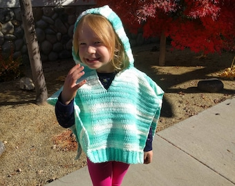 Mint Green Hoodie Poncho (girl's 2-3yrs old)