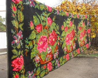 Extra large handwoven woolen rug, moldavian home woven carpet, Bessarabian traditional floral kilim, home woven floral rug, Ukrainian carpet