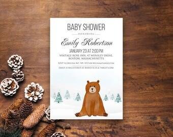 Bear Baby Shower Invitation Winter Little Cub Baby Shower Printable Invite Winter Woodland Forest Animal Baby Shower Invitation Editable PDF